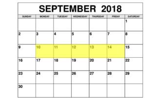Sep 10-14 2018 Food Holidays