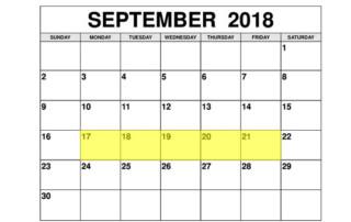 Sep 17-21 2018 Food Holidays
