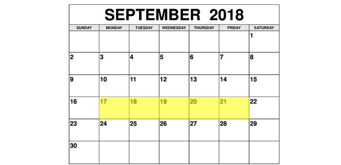 Sep 17-21 2018 Food Holidays