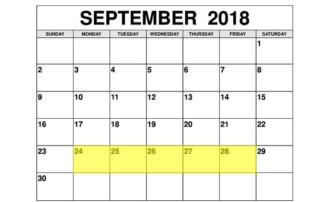 Sep 24-28 2018 Food Holidays