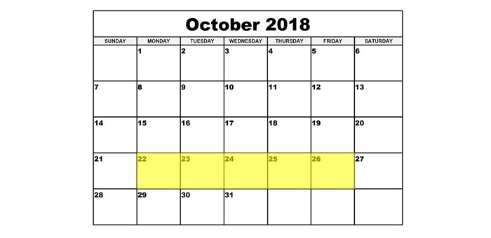 Oct 22-26 2018 Food Holidays