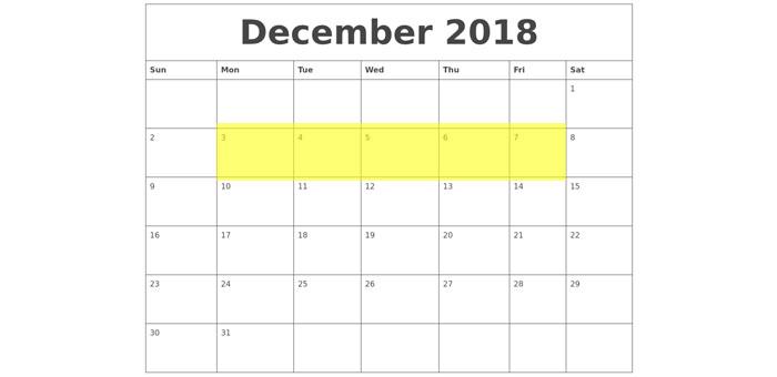 Dec 3-7 2018 Food Holidays