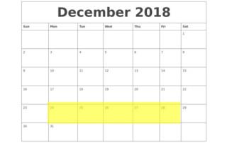 Dec 24-28 2018 Food Holidays