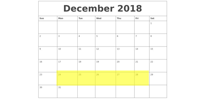 Dec 24-28 2018 Food Holidays