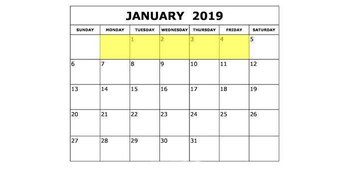 Jan 1-4 2019 Food Holidays