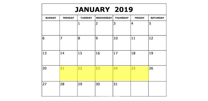 Jan 21-25 2019 Food Holidays