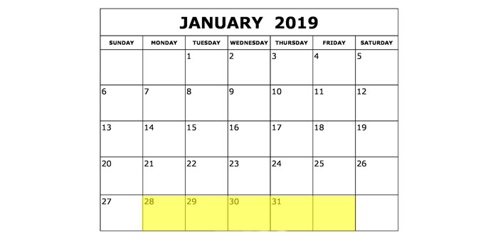 Jan 28-2 2019 Food Holidays