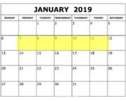 Jan 7-11 2019 Food Holidays