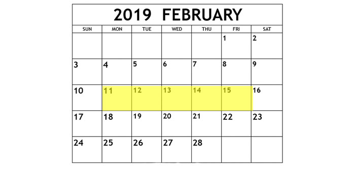 Feb 11-15 2019 Food Holidays