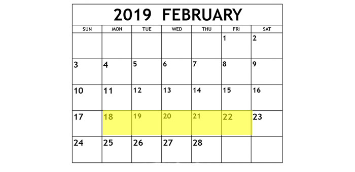 Feb 18-22 2019 Food Holidays