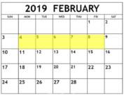 Feb 4-8 2019 Food Holidays