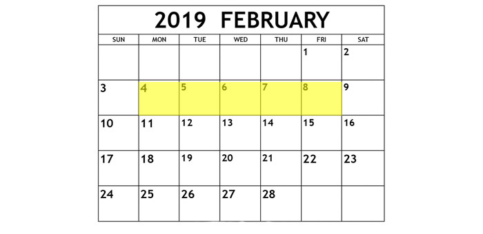 Feb 4-8 2019 Food Holidays