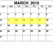 Mar 11-15 2019 Food Holidays