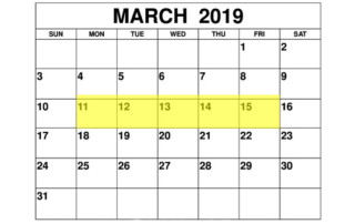 Mar 11-15 2019 Food Holidays