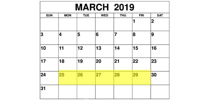Mar 25-29 2019 Food Holidays
